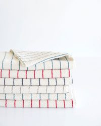 Large Country Towel With Pinstripes (Red)
