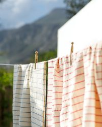 Large Country Towel With Pinstripes (Denim)