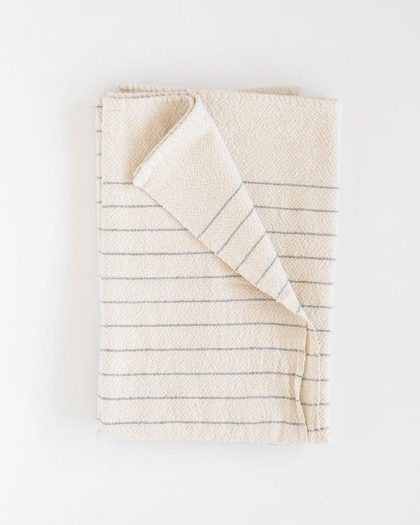 Large Country Towel With Pinstripes (Grey)